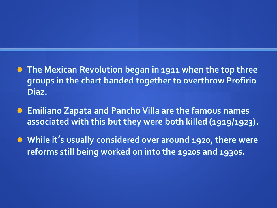 The Mexican Revolution began in 1911 when the top three groups in the chart banded together to overthrow Profirio Diaz.