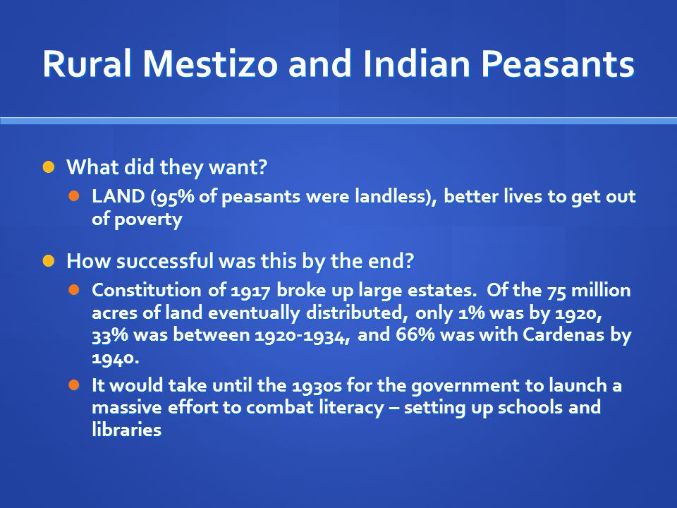 Rural Mestizo and Indian Peasants What did they want.