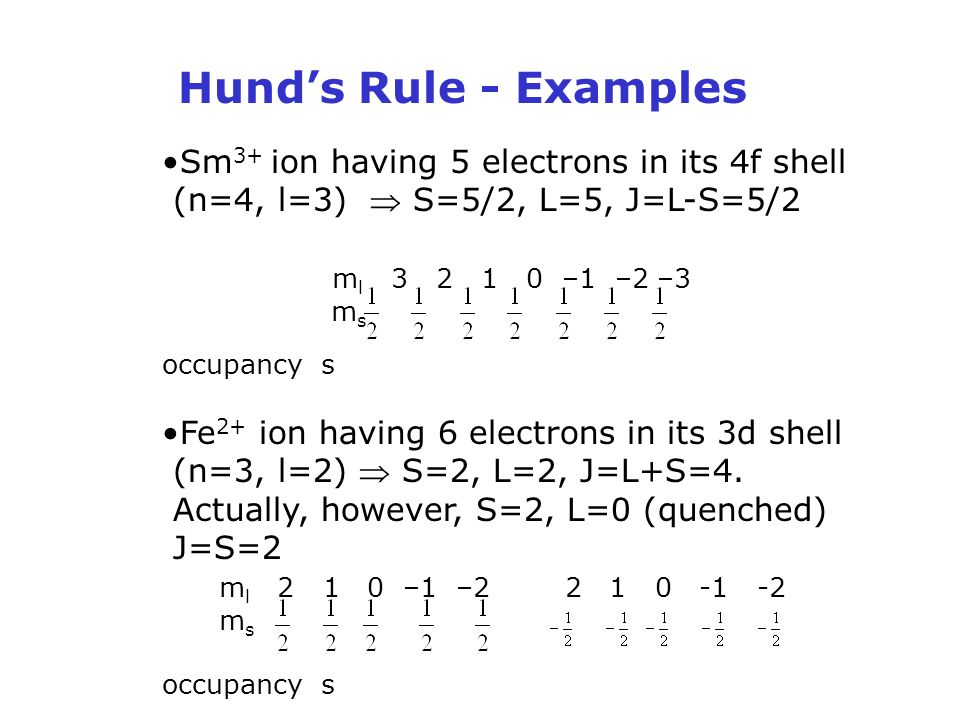 Hund's Rule - Examples Sm 3+ ion having 5 electrons in its 4f shell (n=4, l=3)  S=5/2, L=5, J=L-S=5/2 m l –1 –2 –3 m s occupancy s Fe 2+ ion having 6 electrons in its 3d shell (n=3, l=2)  S=2, L=2, J=L+S=4.