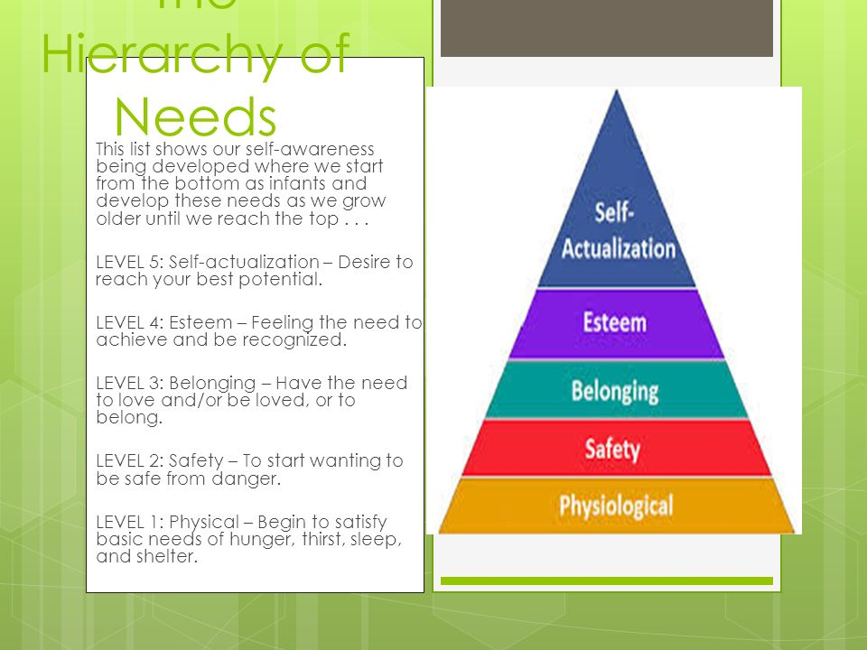 The Hierarchy of Needs This list shows our self-awareness being developed where we start from the bottom as infants and develop these needs as we grow
