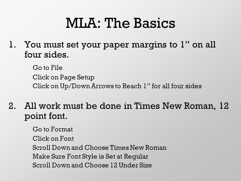 mla format margin size Part 1: how to set up mla format mla margins, line spacing, font ben dondero mla margins, font face and size.