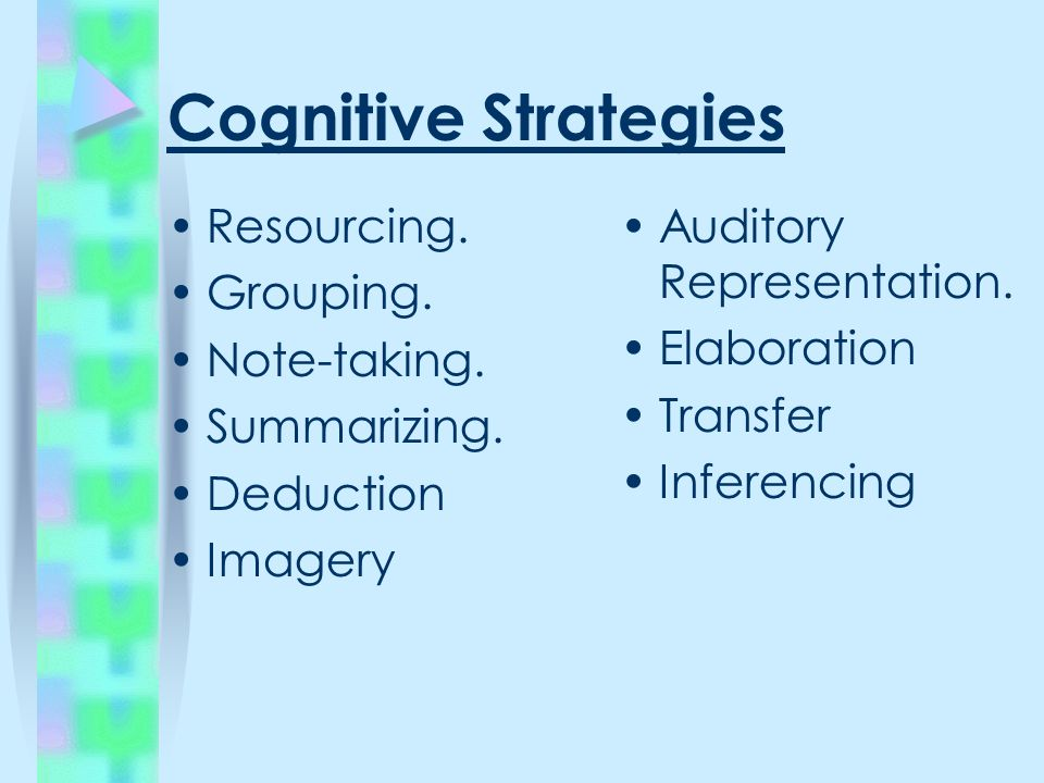 Cognitive Strategies Resourcing. Grouping. Note-taking.