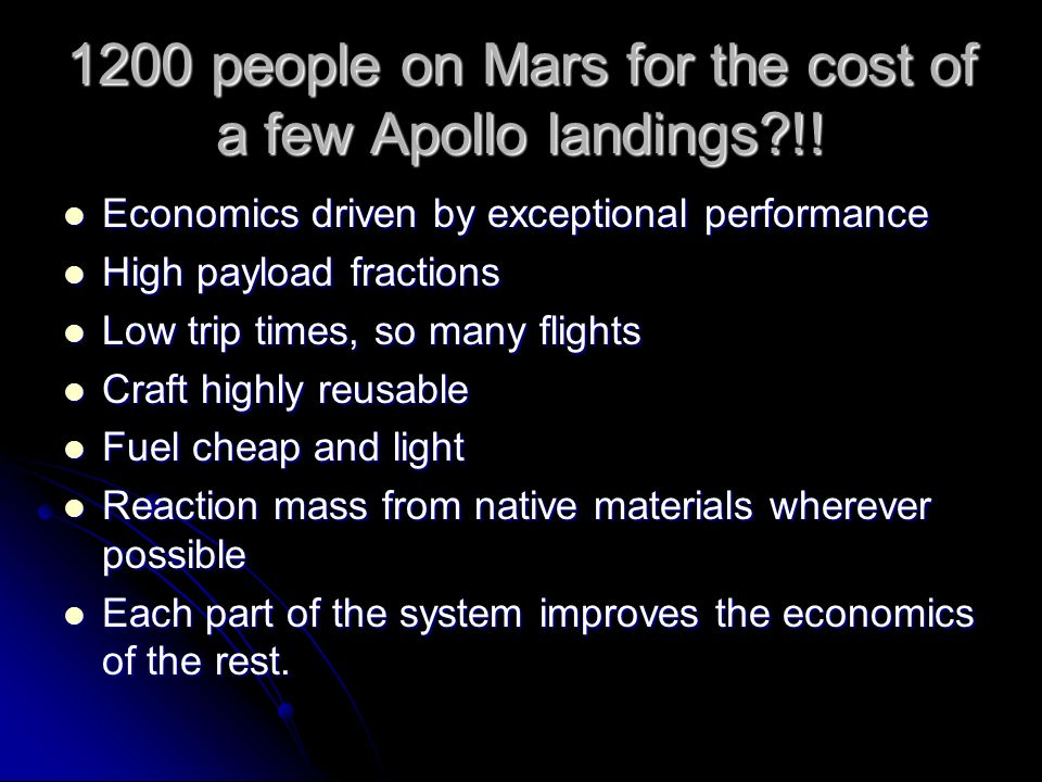 1200 people on Mars for the cost of a few Apollo landings !.