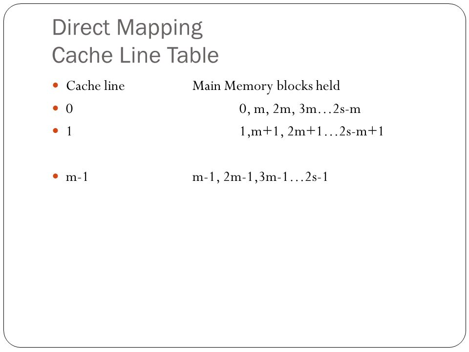 Direct Mapping Cache Line Table Cache lineMain Memory blocks held 00, m, 2m, 3m…2s-m 11,m+1, 2m+1…2s-m+1 m-1m-1, 2m-1,3m-1…2s-1