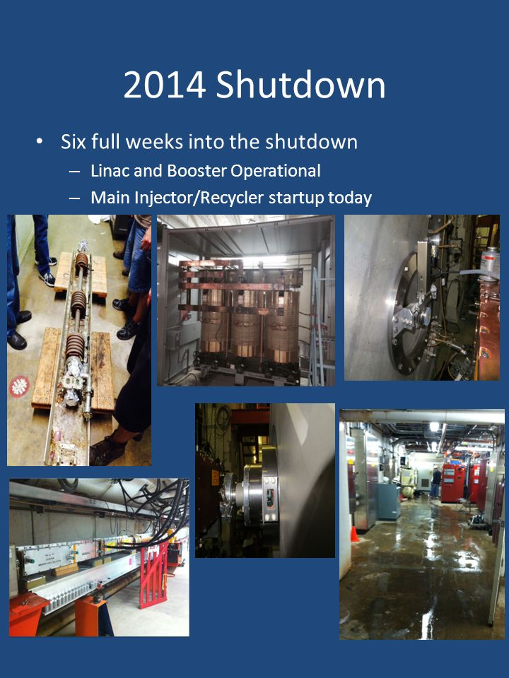 2014 Shutdown Six full weeks into the shutdown – Linac and Booster Operational – Main Injector/Recycler startup today