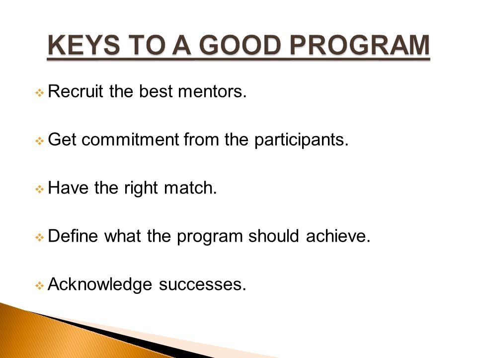  Recruit the best mentors.  Get commitment from the participants.