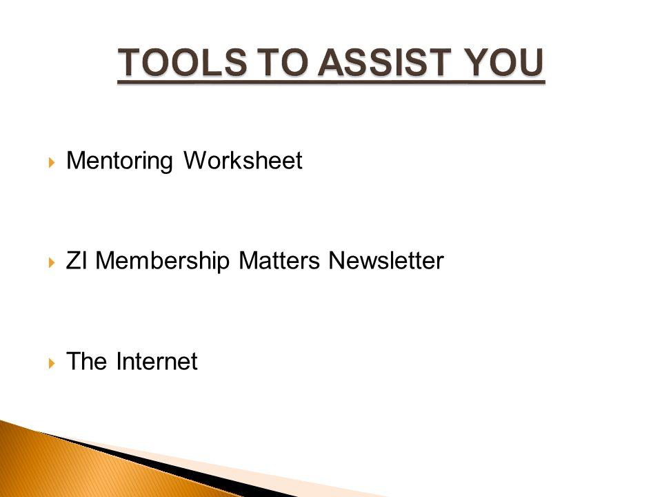  Mentoring Worksheet  ZI Membership Matters Newsletter  The Internet
