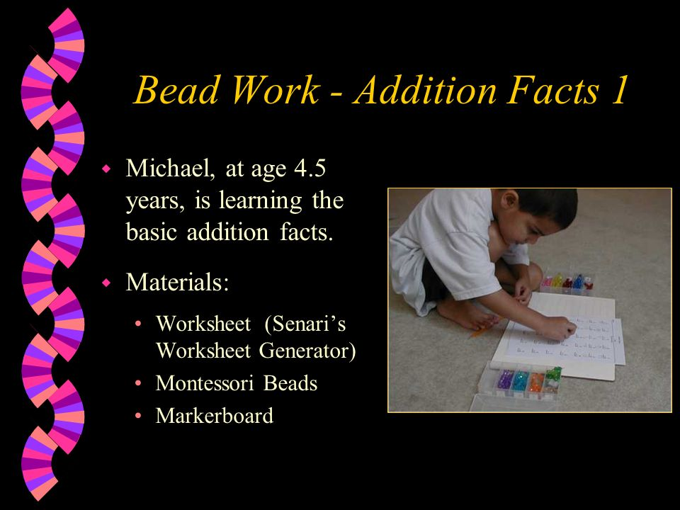 math worksheet : learning basic math facts using montessori beads micki fitzpatrick  : Math Fact Worksheet Generator