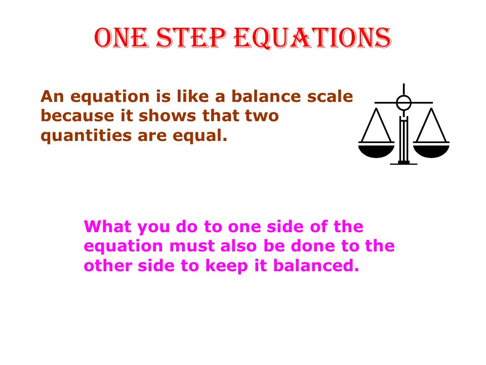 ONE STEP EQUATIONS What you do to one side of the equation must also be done to the other side to keep it balanced.