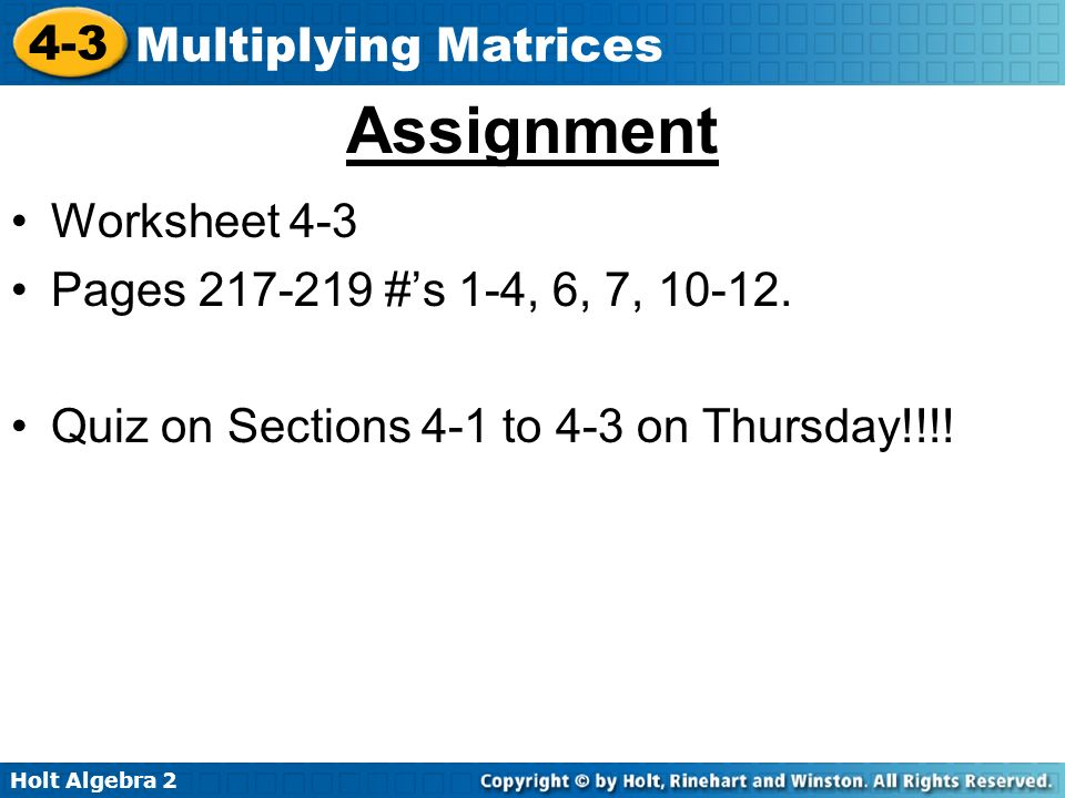 math worksheet : holt algebra multiplying matrices in lesson 4 2 you multiplied  : Adding And Subtracting Matrices Worksheet