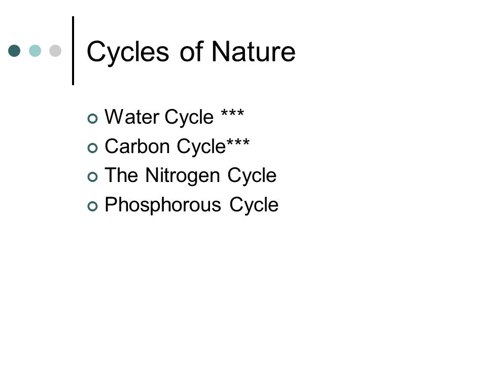 Cycles of Nature Water Cycle *** Carbon Cycle*** The Nitrogen Cycle Phosphorous Cycle