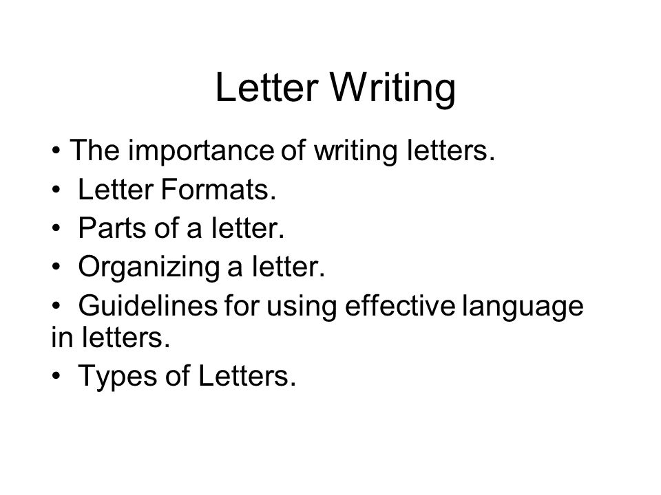 sample letters formats