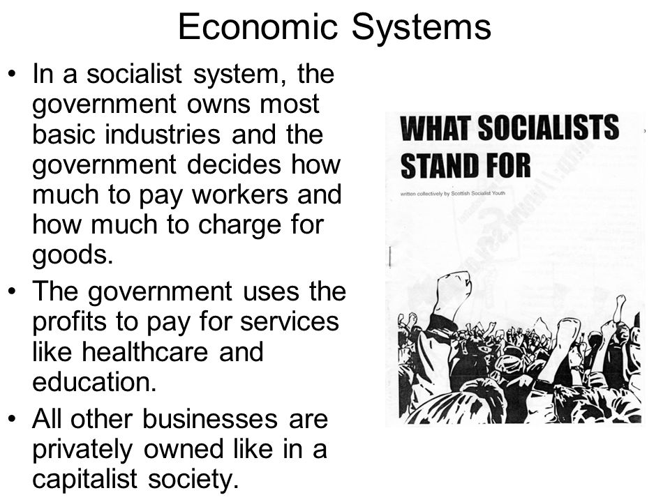Economic Systems In a socialist system, the government owns most basic industries and the government decides how much to pay workers and how much to charge for goods.