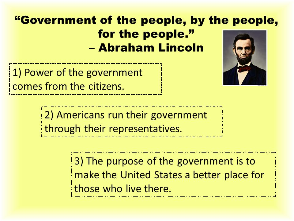 """""""Government of the people, by the people, for the people."""" – Abraham Lincoln 1) Power of the government comes from the citizens. 2) Americans run thei"""