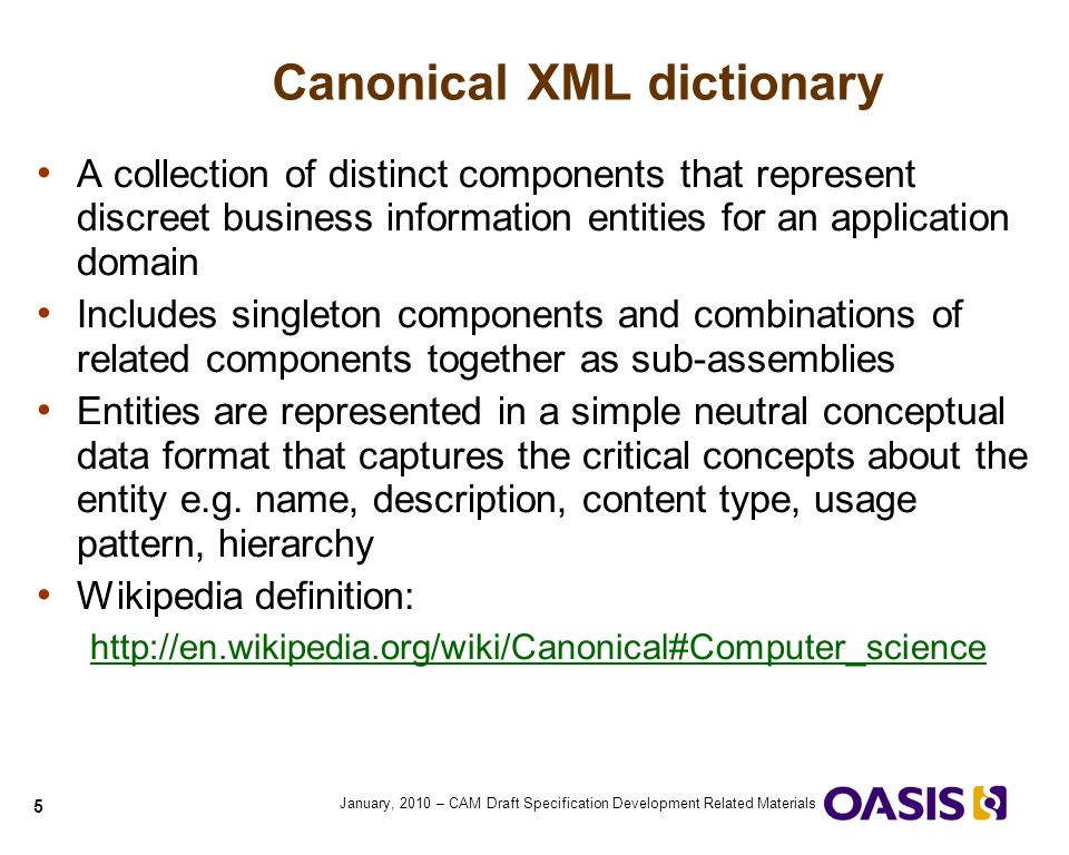 1 quick guide to cam blueprints using blueprints to develop xml 5 5 january 2010 cam draft specification development related materials canonical xml dictionary a collection of distinct components that represent malvernweather Choice Image