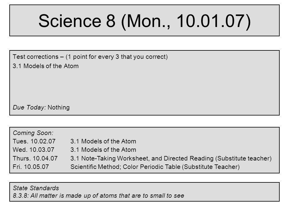 Printable Worksheets worksheets for substitute teachers : Science 8 (Mon., ) Test corrections – (1 point for every 3 that ...