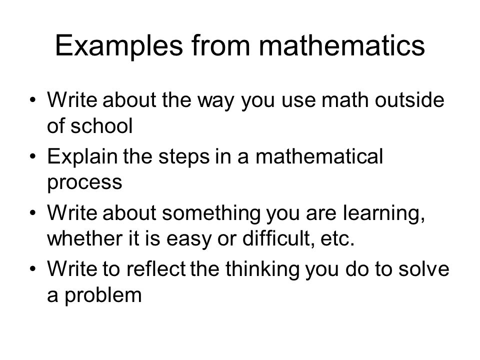 math writing topics Math prompts made easy here are samples of math instructional prompts for creative writing across the curriculum each math writing prompt below is written using the.