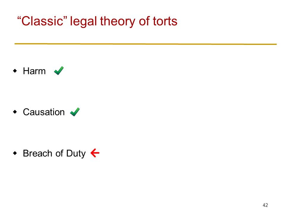42  Harm  Causation  Breach of Duty Classic legal theory of torts