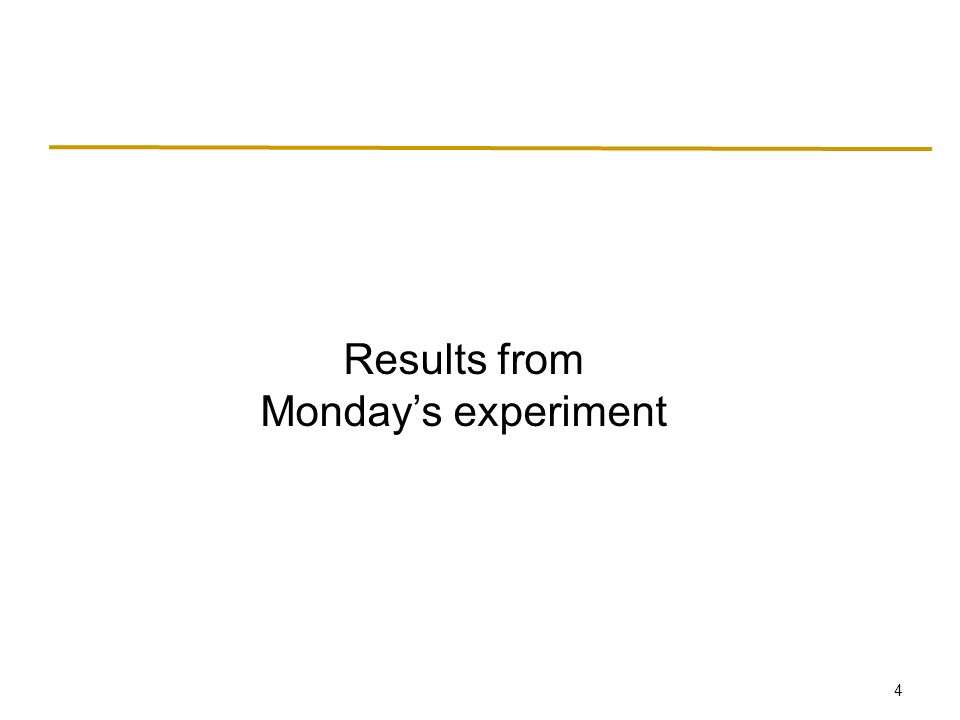 4 Results from Monday's experiment