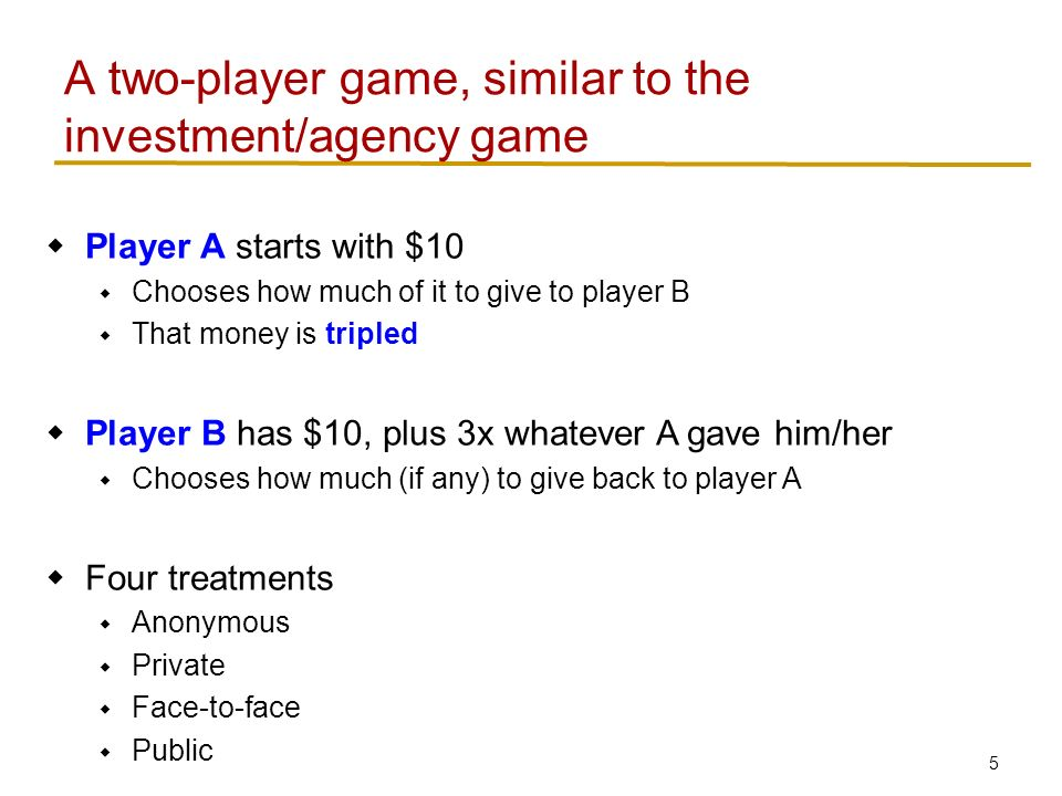 5  Player A starts with $10  Chooses how much of it to give to player B  That money is tripled  Player B has $10, plus 3x whatever A gave him/her  Chooses how much (if any) to give back to player A  Four treatments  Anonymous  Private  Face-to-face  Public A two-player game, similar to the investment/agency game