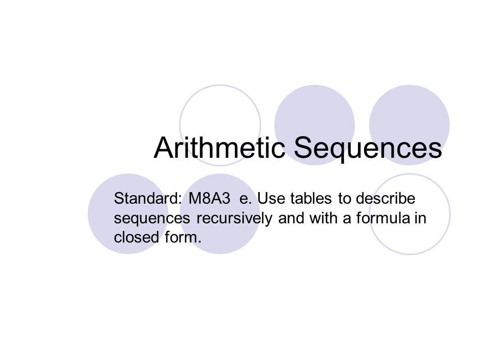 Arithmetic Sequences Standard: M8A3 e.