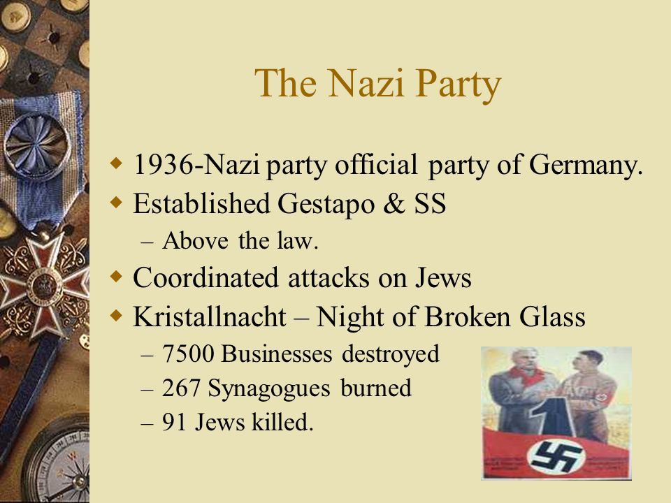 The Nazi Party  1936-Nazi party official party of Germany.