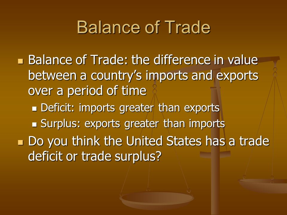 Balance of Trade Balance of Trade: the difference in value between a country's imports and exports over a period of time Balance of Trade: the difference in value between a country's imports and exports over a period of time Deficit: imports greater than exports Deficit: imports greater than exports Surplus: exports greater than imports Surplus: exports greater than imports Do you think the United States has a trade deficit or trade surplus.