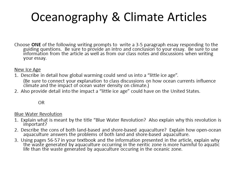 th grade advanced science writing prompts geology articles   3 5 paragraph essay 3 oceanography