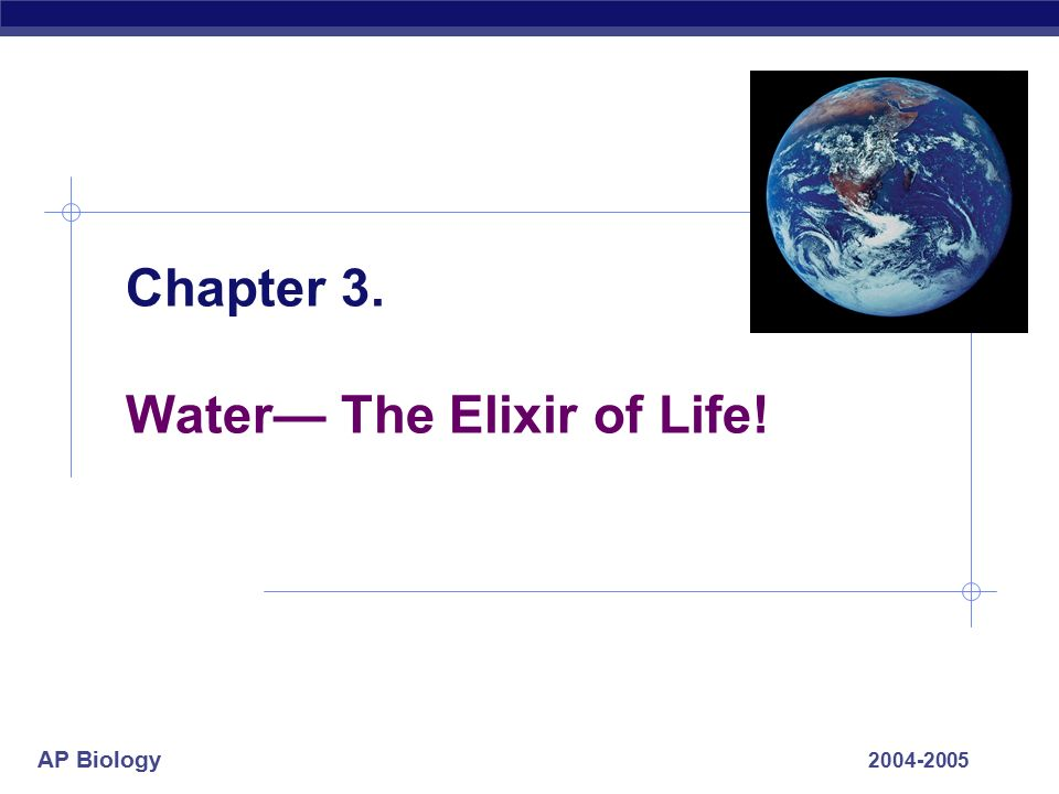 AP Biology Chapter 3. Water— The Elixir of Life!