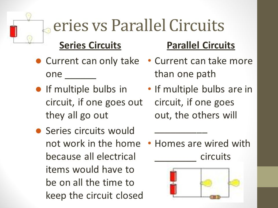 Series vs Parallel Circuits Parallel Circuits Current can take more than one path If multiple bulbs are in circuit, if one goes out, the others will __________ Homes are wired with ________ circuits Series Circuits Current can only take one ______ If multiple bulbs in circuit, if one goes out they all go out Series circuits would not work in the home because all electrical items would have to be on all the time to keep the circuit closed