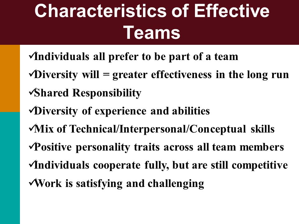 Characteristics of Effective Teams Individuals all prefer to be part of a team Diversity will = greater effectiveness in the long run Shared Responsib
