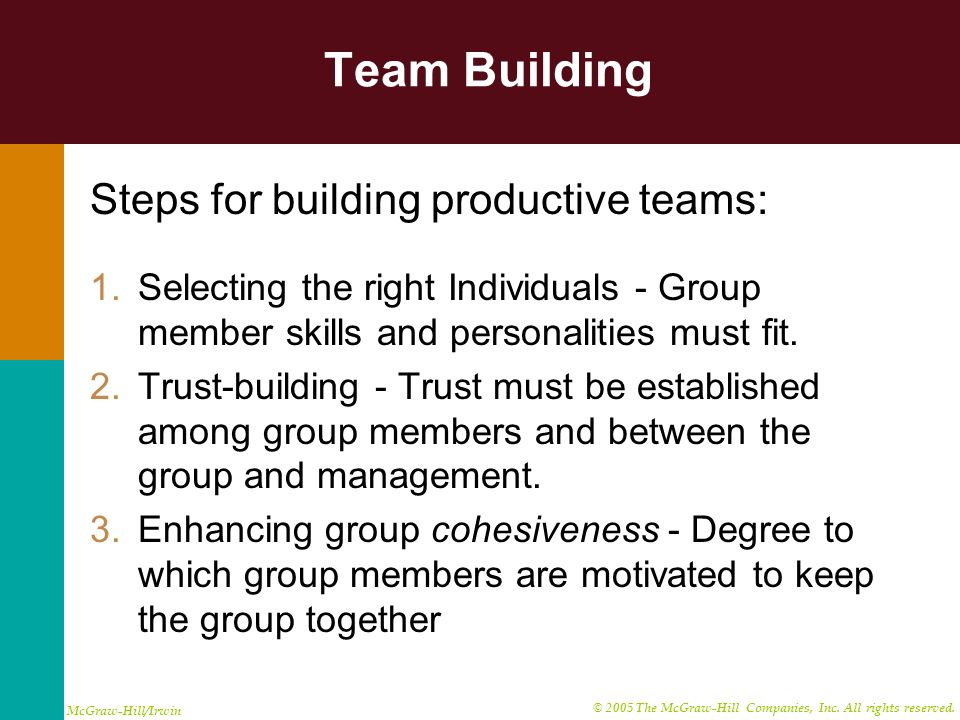 Team Building Steps for building productive teams: 1.Selecting the right Individuals - Group member skills and personalities must fit. 2.Trust-buildin
