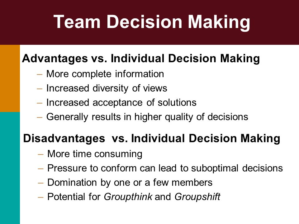Team Decision Making Advantages vs. Individual Decision Making –More complete information –Increased diversity of views –Increased acceptance of solut