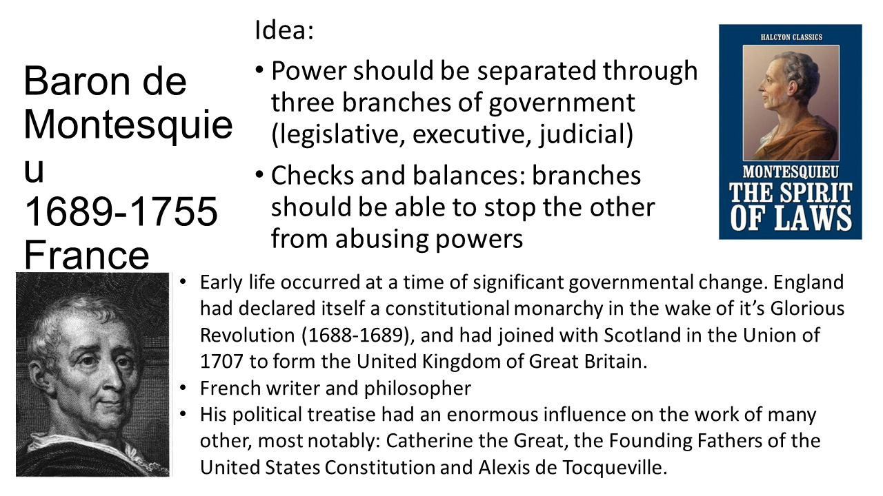 Baron de Montesquie u France Idea: Power should be separated through three branches of government (legislative, executive, judicial) Checks and balances: branches should be able to stop the other from abusing powers Early life occurred at a time of significant governmental change.