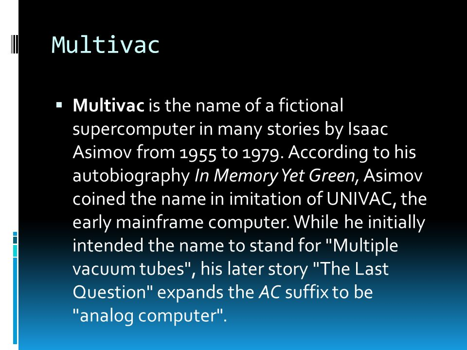 Image result for asimov multivac