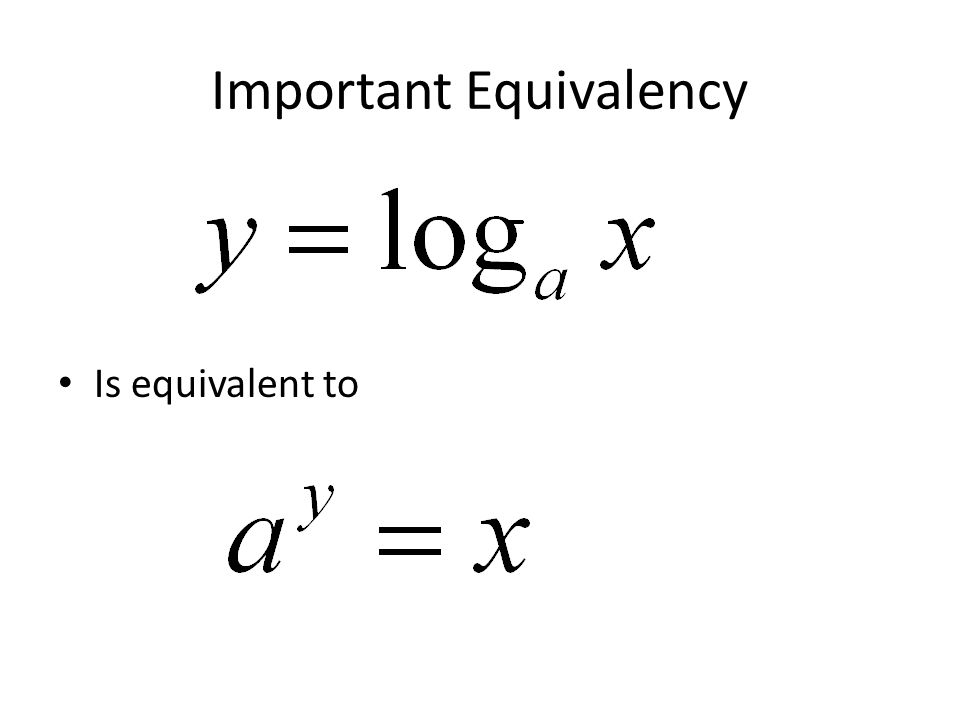 Important Equivalency Is equivalent to