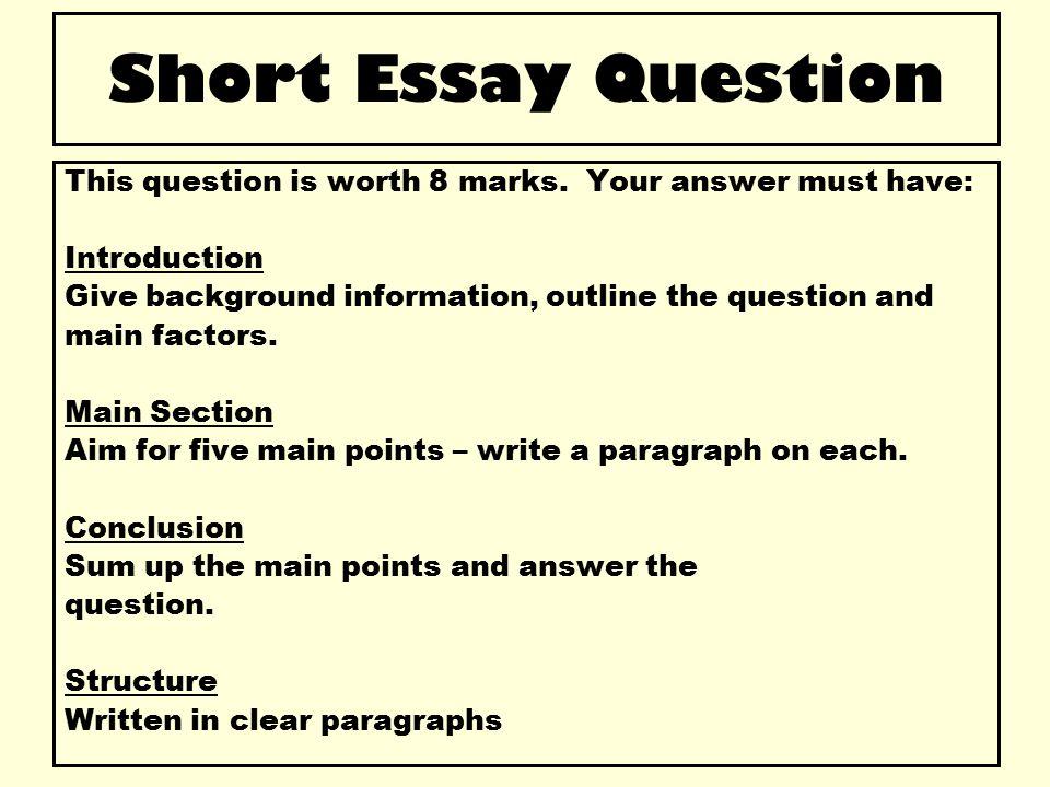 standard grade history 8 mark essay questions Credit - essay questions