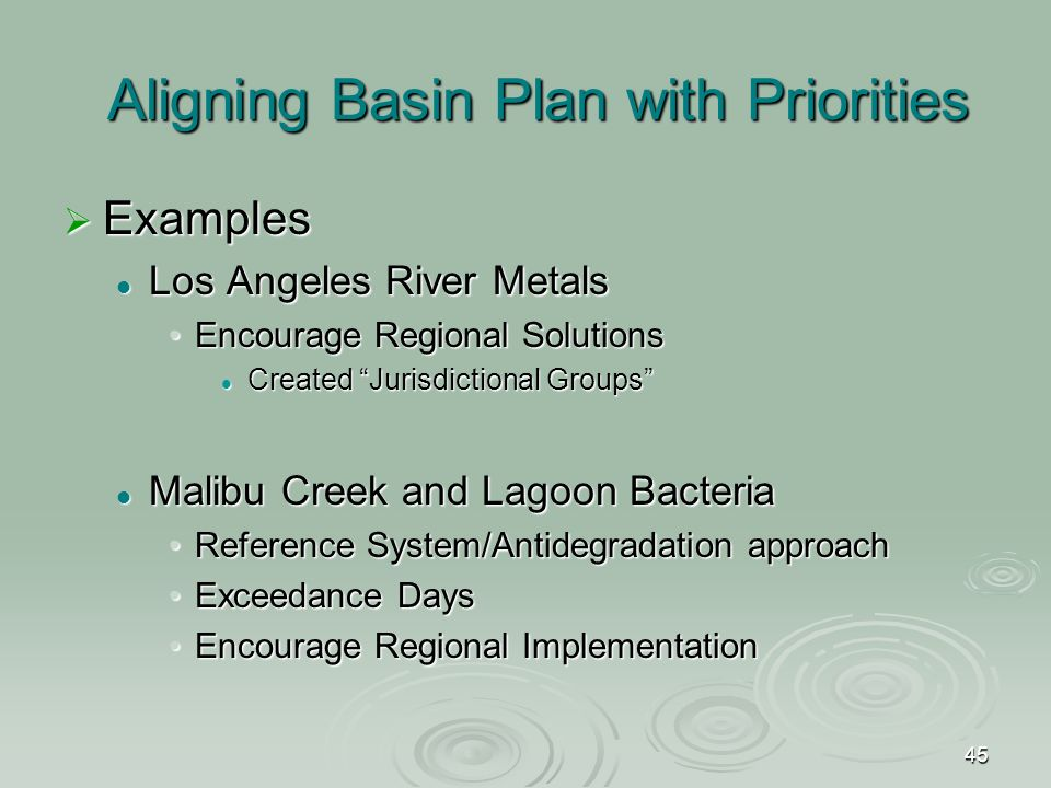 45 Aligning Basin Plan with Priorities  Examples Los Angeles River Metals Los Angeles River Metals Encourage Regional SolutionsEncourage Regional Solutions Created Jurisdictional Groups Created Jurisdictional Groups Malibu Creek and Lagoon Bacteria Malibu Creek and Lagoon Bacteria Reference System/Antidegradation approachReference System/Antidegradation approach Exceedance DaysExceedance Days Encourage Regional ImplementationEncourage Regional Implementation