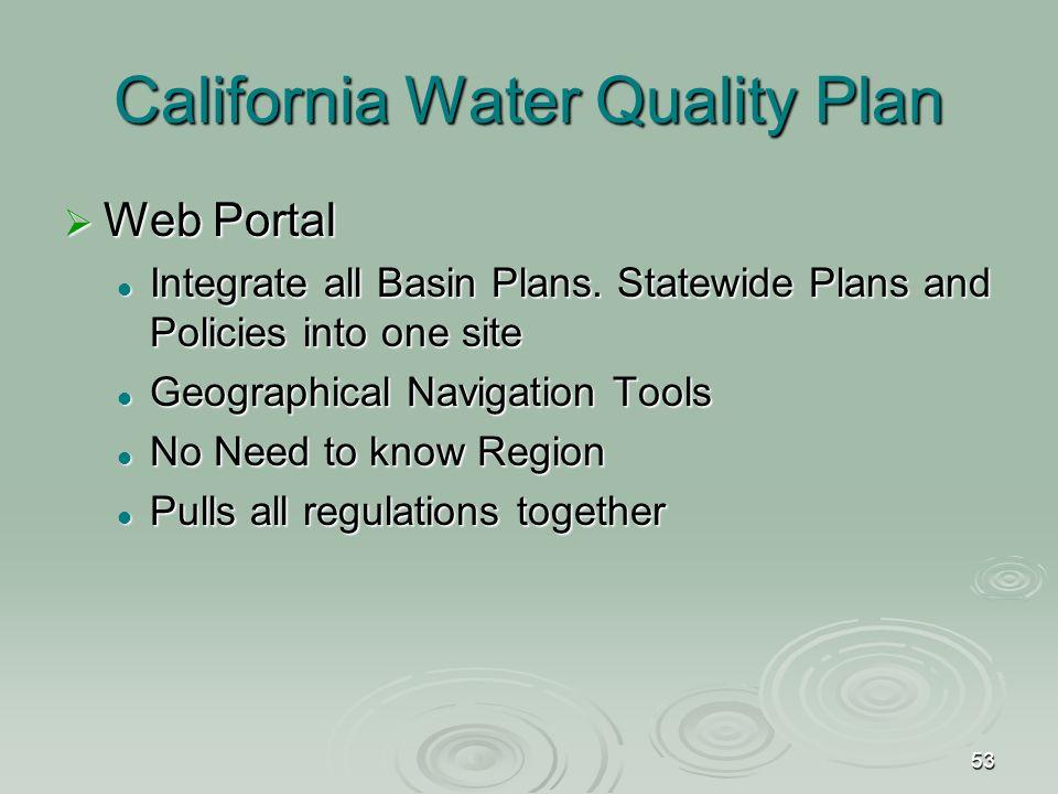 53 California Water Quality Plan  Web Portal Integrate all Basin Plans.
