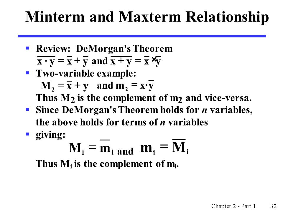 Chapter 2 - Part 1 32  Review: DeMorgan s Theorem and  Two-variable example: and Thus M 2 is the complement of m 2 and vice-versa.