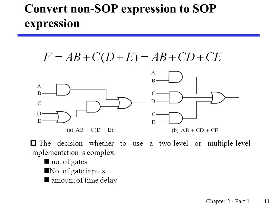 Convert non-SOP expression to SOP expression Chapter 2 - Part 1 41  The decision whether to use a two-level or multiple-level implementation is complex.
