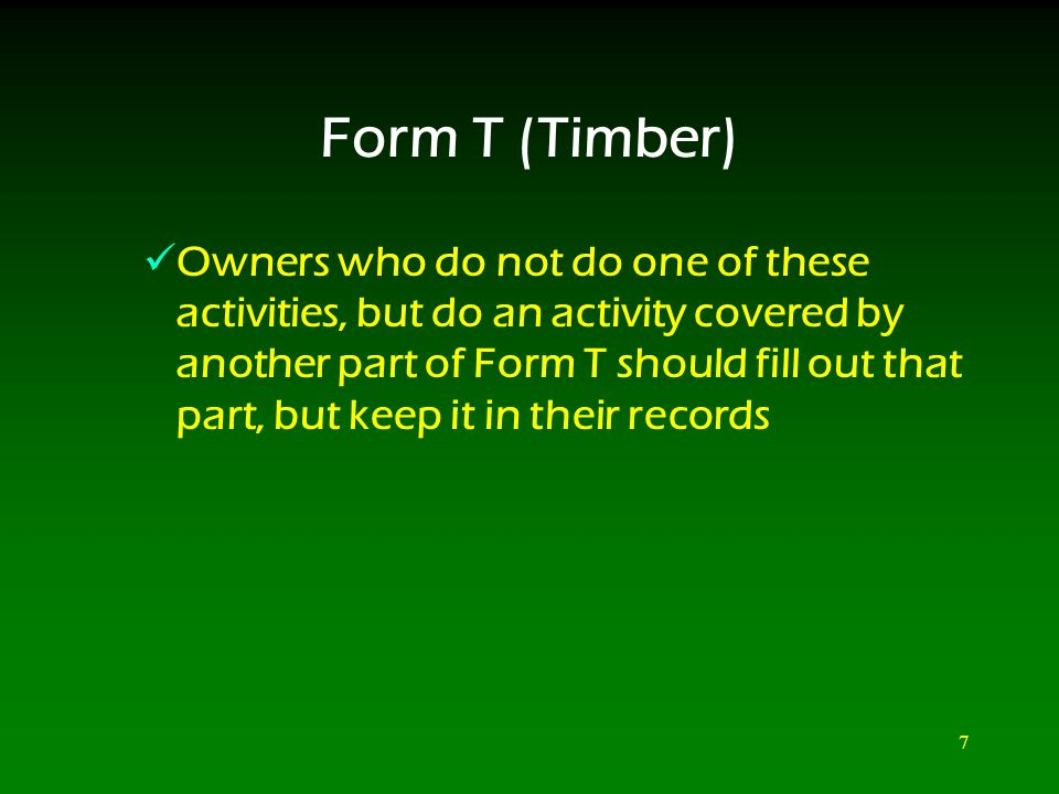 Form T (Timber) Forest Activities Schedule. 2 Form T (Timber ...