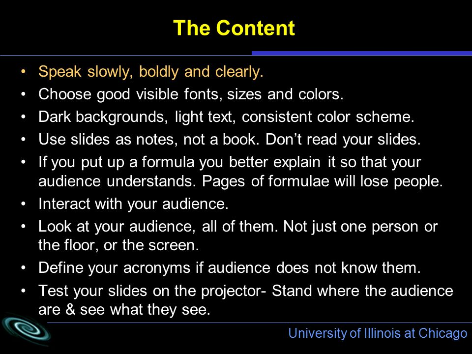 university of illinois at chicago the content speak slowly boldly and clearly