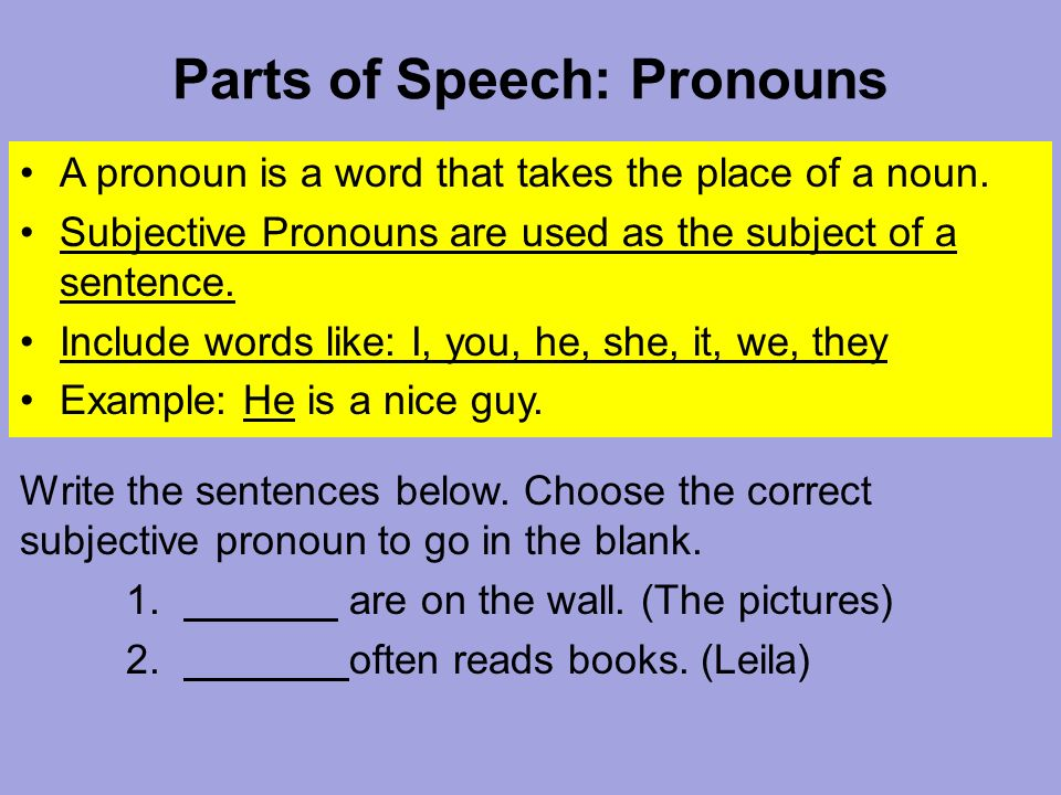 Parts of Speech: Pronouns A pronoun is a word that takes the place of a noun.