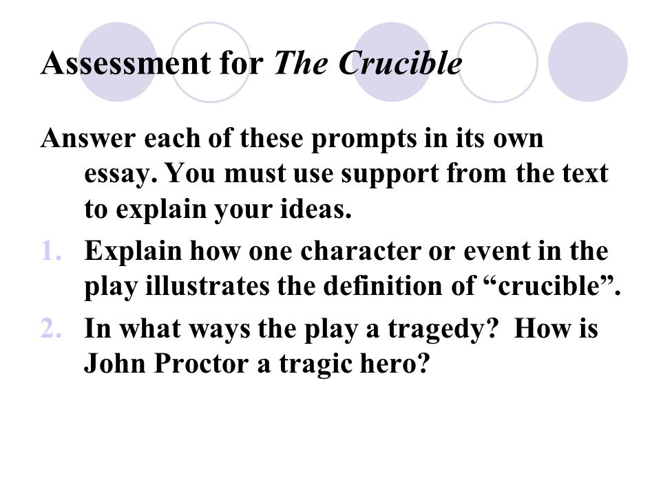 proctor crucible essay John proctor crucible john proctor new topic john proctor crucible why does john proctor choose to die let us find you essays on topic study of john proctor.