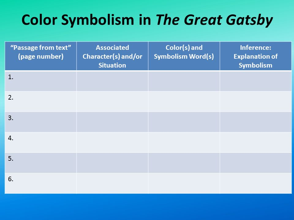 Great gatsby colour symbolism essay