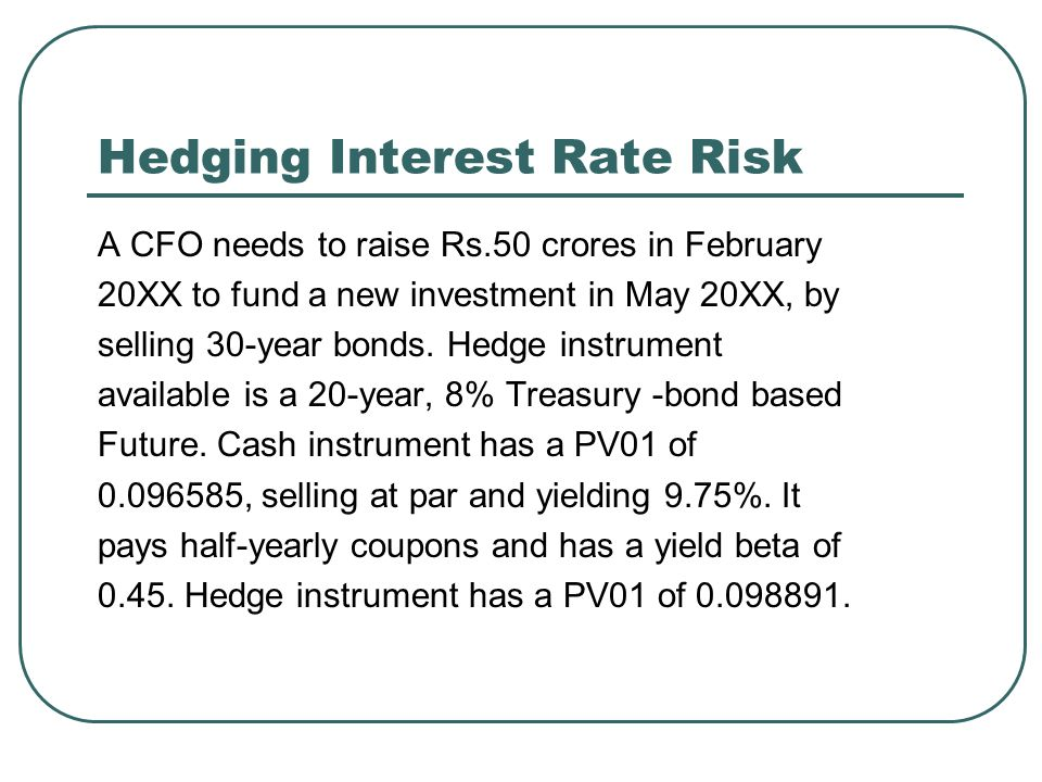 Hedging Interest Rate Risk A CFO needs to raise Rs.50 crores in February 20XX to fund a new investment in May 20XX, by selling 30-year bonds.