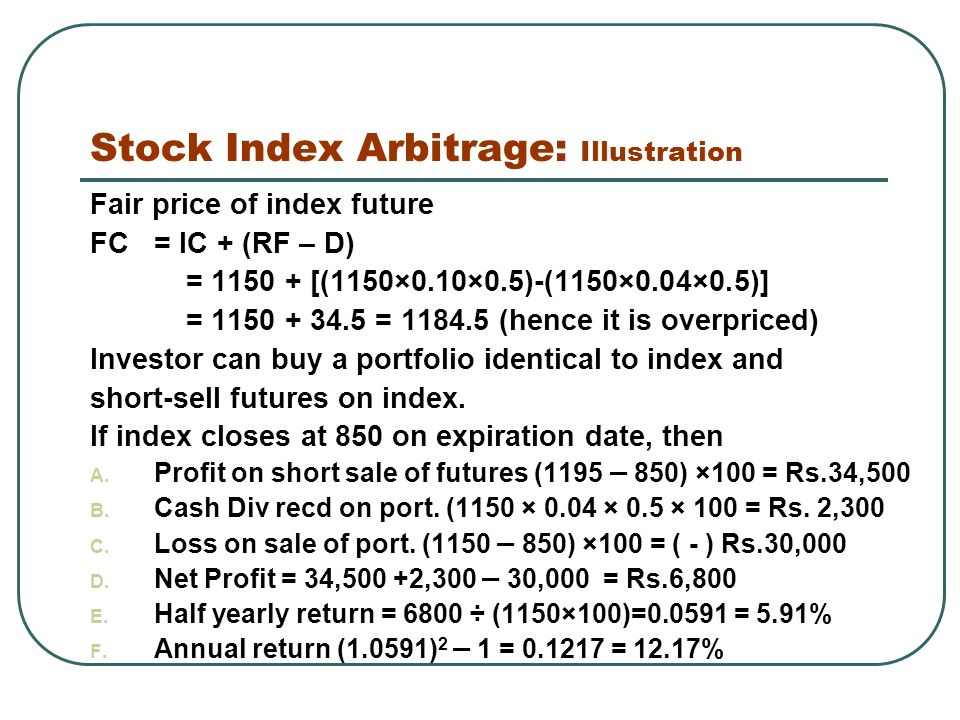 Stock Index Arbitrage: Illustration Fair price of index future FC = IC + (RF – D) = [(1150×0.10×0.5)-(1150×0.04×0.5)] = = (hence it is overpriced) Investor can buy a portfolio identical to index and short-sell futures on index.