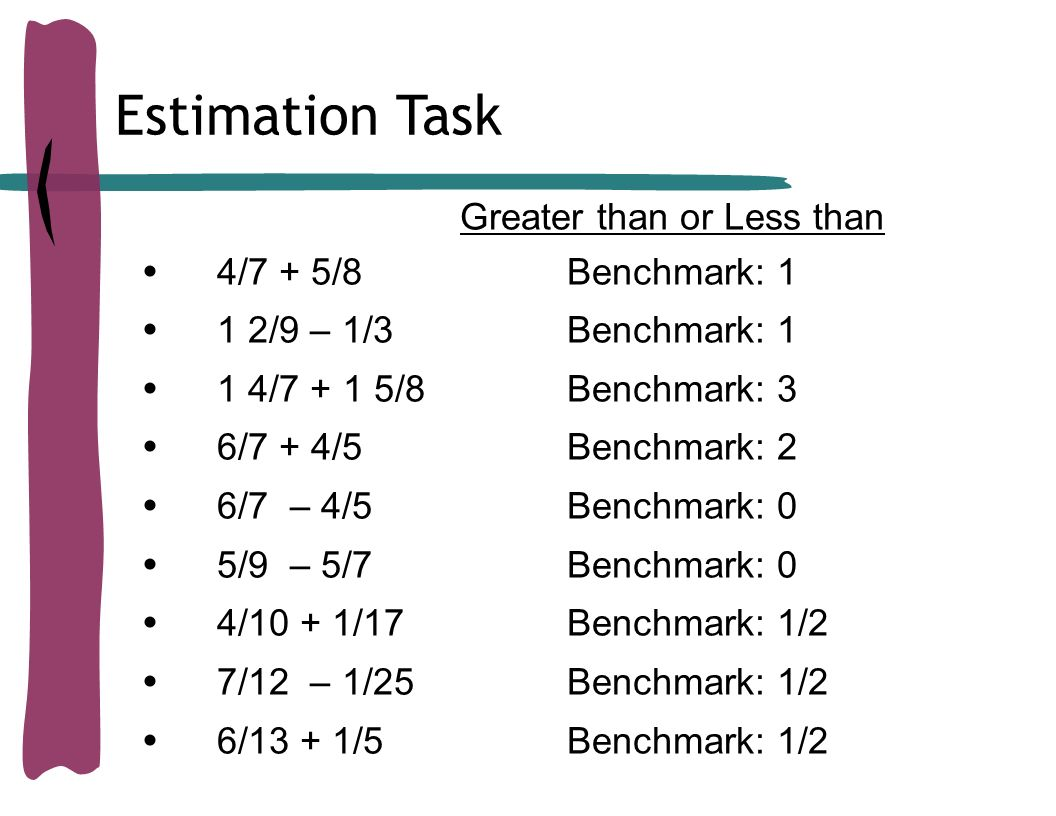 Reasoning with rational numbers fractions ppt video online 19 estimation task greater than or less than 47 58 benchmark 1 buycottarizona Choice Image