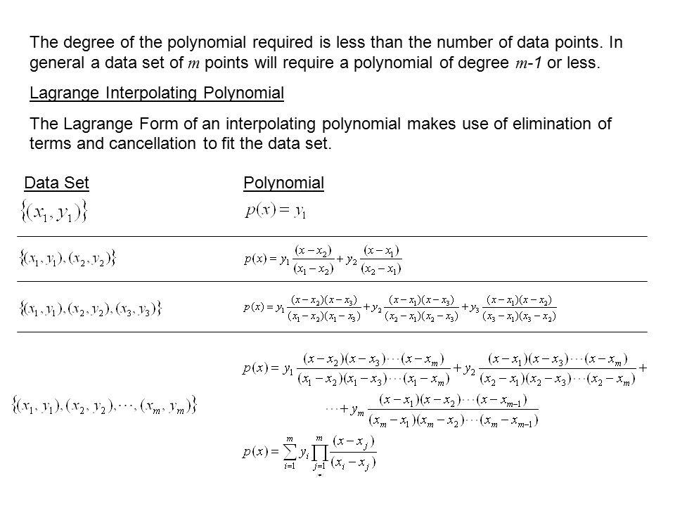 Polynomial Interpolation Lagrange Interpolation. Interpolation An ...